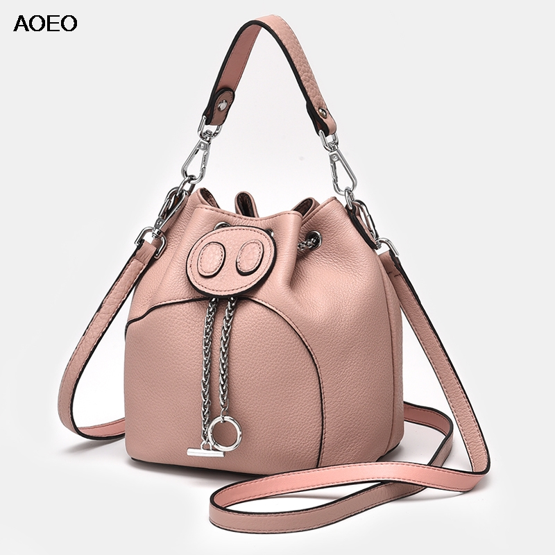 AOEO Genuine Leather Womens Bucket Bag Small Crossbody Pig Design Ladies Messenger Bags Top handle Chains