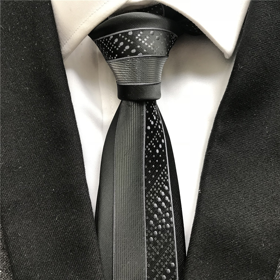 Classic Design Young Men's Skinny Ties High Quality Woven Handmade Necktie Black With Silver Gray Dots Stripes