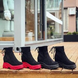 Image 5 - SWYIVY أسود أحذية رياضية النساء حذاء خفيف الظهر الدانتيل 2019 الخريف الإناث الكاحل عالية أعلى أحذية رياضية على منصة مكتنزة حذاء رياضة النساء
