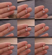1pc CZ Stud Piercing Crown Cross Star Cartilage Earring Conch Tragus Stud Helix Cartilage Piercing Jewelry Women Earrings Girls(China)