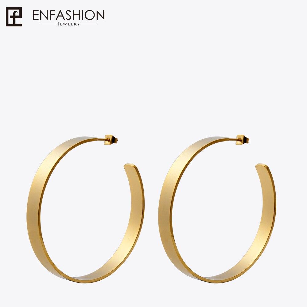 Enfashion Vintage Big Hoop Earrings Matte Gold color Earings Stainless Steel Circle Earrings For Women Jewelry Wholesale 171026 pair of vintage rhinestoned heart hoop earrings for women
