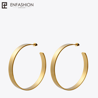 Enfashion Vintage Big Hoop Earrings Matte Gold Color Earings Stainless Steel Circle Earrings For Women Jewelry