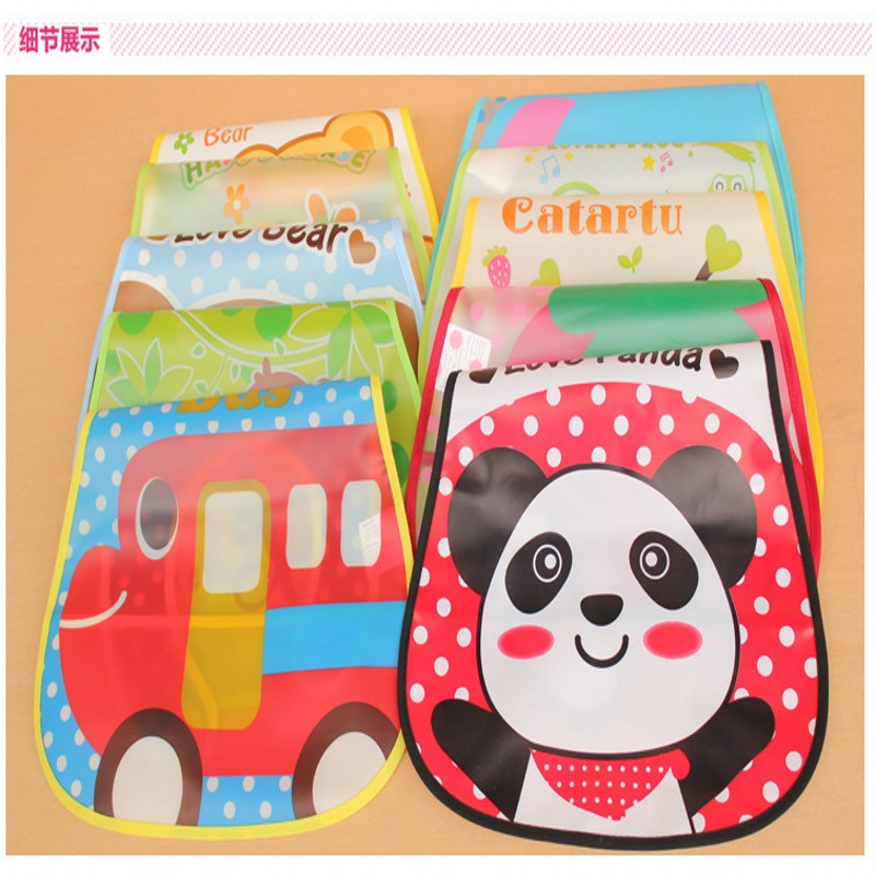 45*28cm Transparent Soft EVA Disposable Meal Pocket Baby Bib Waterproof Cartoon Baby Overclothes Mix Color Baby Wear