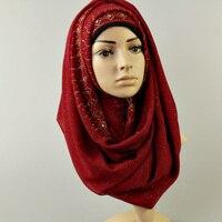 women's glitter chiffon silk diamond floral color plain shawls hijab muslim nice scarves 180*80cm