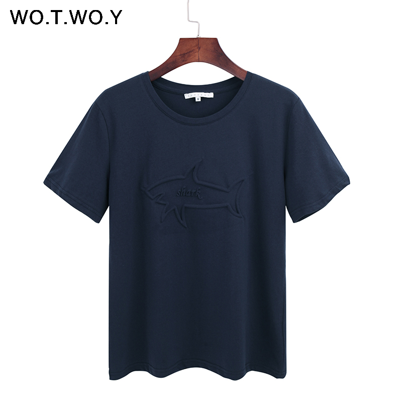 WOTWOY Shark Embossed Cotton Tee Shirt Women Casual Summer T-Shirt Women 2018 Sold Loose Style Animal O-Neck T Shirts Femme New