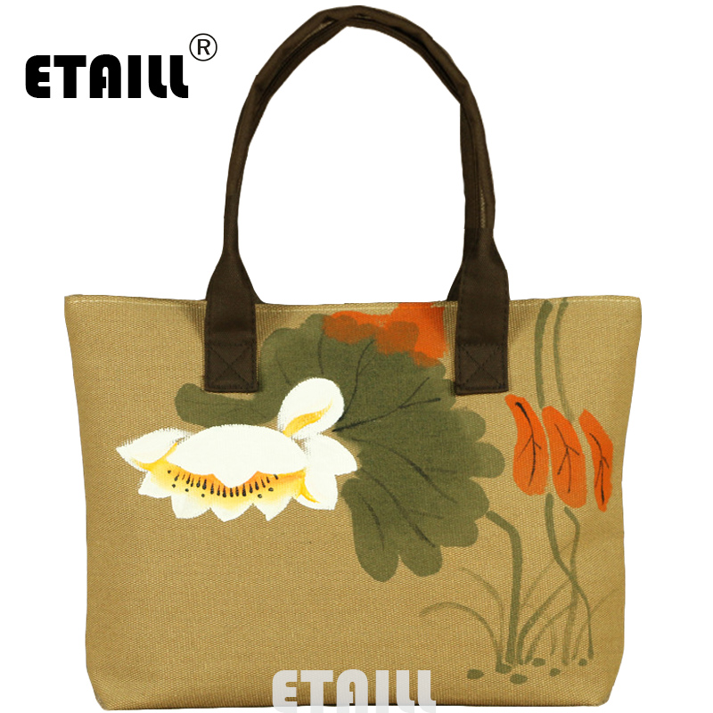 ETAILL Lotus Hand Painted Shoulder Bag Women Large Capacity Female Shopping Bag Canvas Handbag Chinese National Summer Beach Bag