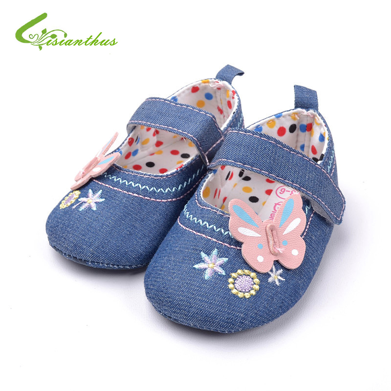 Baby Girl Butterfly Princess Shoes Fashion Denim First Walkers Polka Dots Lining Infant Spring Summer Shoes Drop Free Shipping
