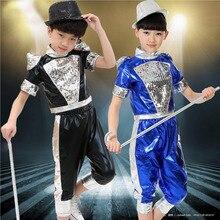 2016 весна лето детская одежда набор Джаз Костюмы Блесток Хип-Хоп танцев шорты & кисточкой Футболку дети Танцуют костюмы twinset