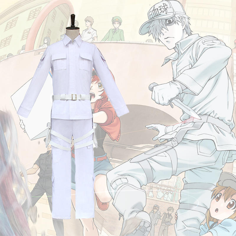 Cells At Work Hataraku Saibou Neutrophil White Cosplay Costume Uniform Outfit Japanese Anime Halloween Carnival Party Costume