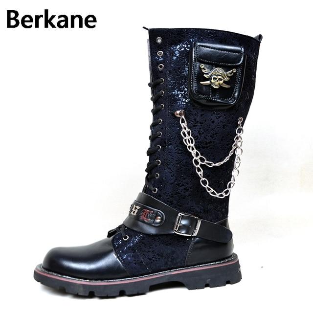 624930373 Botas negras del ejército gótico hombres combate militar hebilla del cráneo  de Metal motocicleta Punk zapatos
