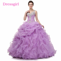 Lilac Cheap Quinceanera Dresses 2018 Ball Gown Sweetheart Ruffles Organza Appliques Crystals Sweet 16 Dresses
