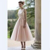 Tea Length Lace Bridesmaid Dresses A Line Crew Plus Size Wedding Formal Wear Handmade Flowers Vestido madrinha