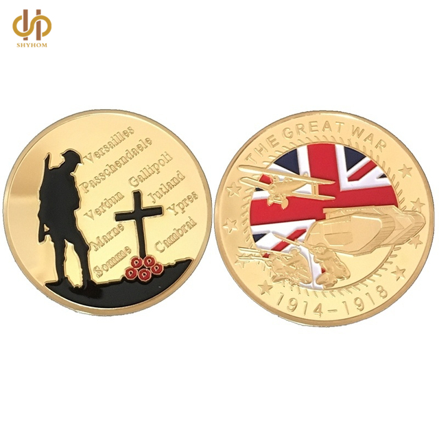 30pcs/lot free shipping, Souvenir War Coin 1914-1918 The Great War Coin 24K Gold Plated Military Medal Challenge coins