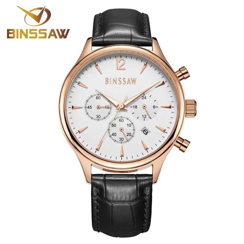 BINSSAW 2017 nieuwe heren kijken luxe merk Fashion Casual 100M leer - Herenhorloges - Foto 2