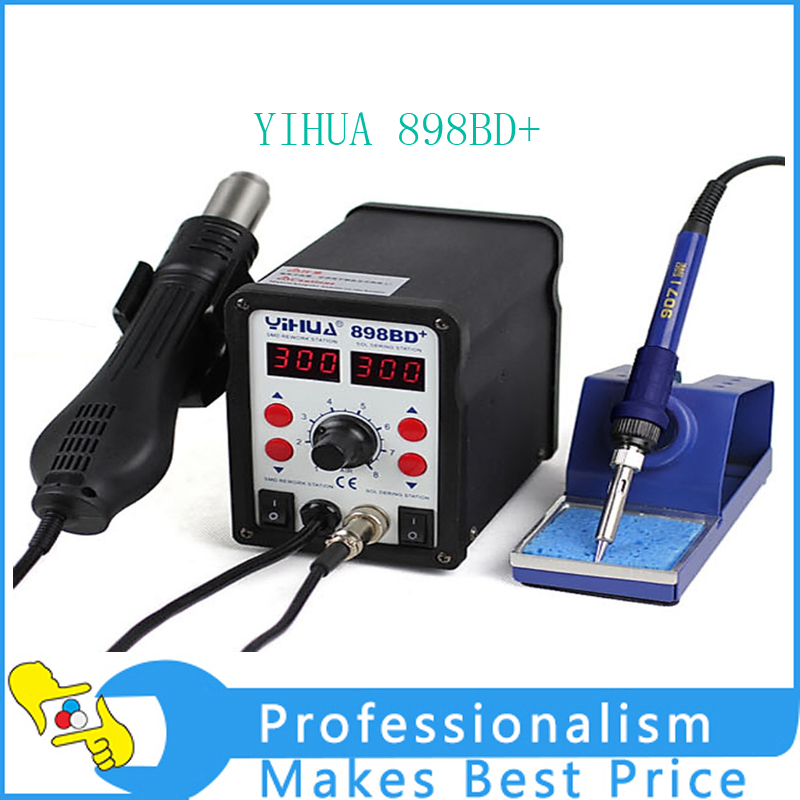 YIHUA 898BD+ Mobile Phone Repair Tools SMD Rework Soldering Station ppd 120e l soldering station down the forapple mobile phone motherboard chip a10 a9 a8cpu intelligent desoldering tools