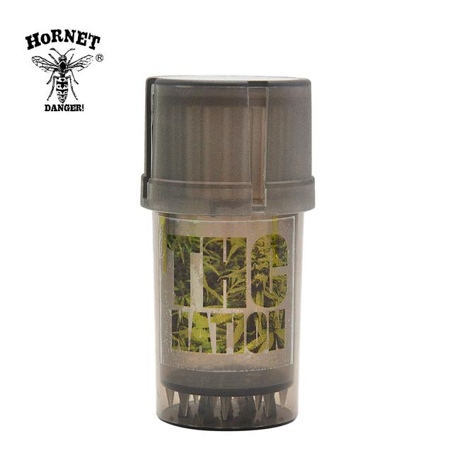 HORNET Plastic Herb Crusher 3 Layers Tobacco Herb Grinder 40mm Grinder Weed With Tobacco Storage Case Weed Accessories