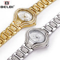 BELBI Luxury Brand Watches Women Gold Watch Rhinestone Quartz-watch Steel JAPAN Movement Quartz watches Relogio Feminino