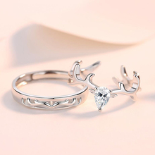 KOFSAC Lovers Rings 925 Silver Jewelry Cute/Romantic Zircon Antlers Ring For Women Hollow Antlers Ring Men Anniversary Gifts