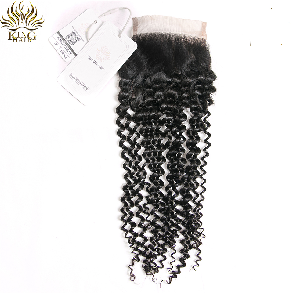 King Hair Kinky Curly Peruvian Hair Weaves Lace Closure 4x4 Free Part 100% Remy Human Hair Closure 10-18 inch Free Shipping