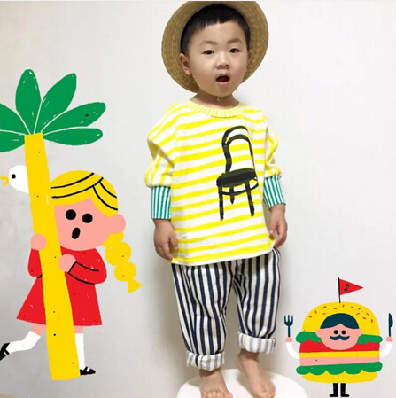 2016 autumn bobo choses STRIPE T SHIRTS baby boys clothes kids clothes long sleeved t shirts winter clothes vetement enfant