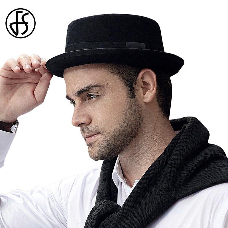 33570fc4535 FS 2018 Wool Felt Men Pork Pie Hats Wide Brim Black Church Fedora Vintage  Male Jazz Hat Ribbon Trilby Gangsters Godfather Caps