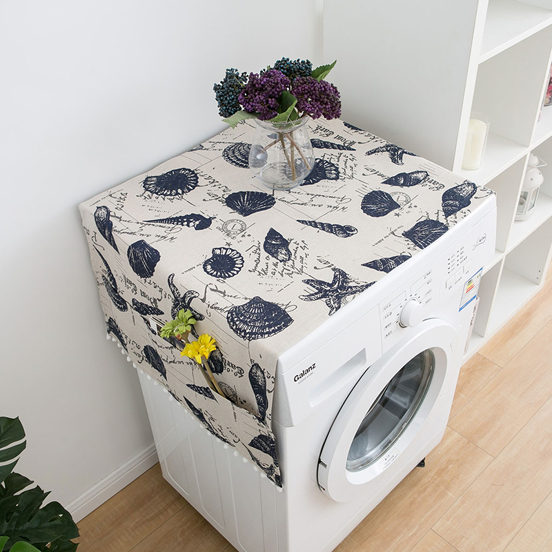 Simanfei Washing machine Cover Rural Japan style Dust Blue shell print Fish scale wave printing Refrigerator Dust Cover Storage in Washing Machine Covers from Home Garden