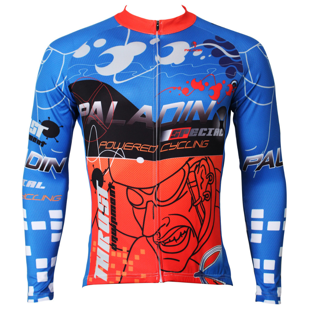Free shipping Cycling the sprint  Men Long Sleeve Cycling Jersey Breathable Blue Bike / Bicycle Shirt Polyester Cycling Clothing