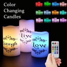 цена на Eldnacele Set of 3 Color Changing Candles  Flickering Flameless Pillar Candles with Remote Control Timer - Live, Love, Laugh