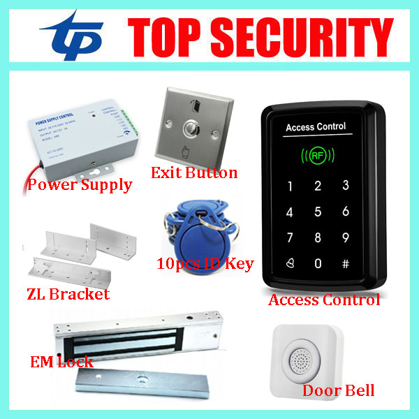 Free shipping touch keypad RFID card and password door access control system with 180KG EM lock bolt lock and power supply metal shell touch keyboard 125khz rfid access control system entrance guard password and rfid 10pcs crystal keyfob