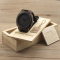 BOBO BIRD Handmade Mens Black Wood Natural Wooden Watch with Genuine Brown Black Leather Band Wristwatches Wood Gift Box I11