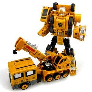 Image 3 - 2 in 1 Legierung Engineering Transformation Roboter Auto Verformung Spielzeug Metall Legierung Bau Fahrzeug Lkw Montage Roboter Für Kid