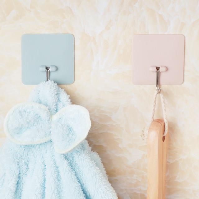 Hourong 1pc Pure Color Bathroom Hooks Plastic Pink Blue Beige Green Bath  Towel Holder Rack Kitchen