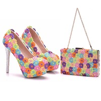 Crystal Queen Multicolor Flower Shining Crystal Womens Wedding Shoes Matching bags Clutches 14CM High Heels Female Pumps Party