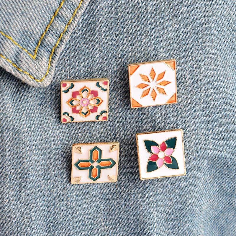 Annata Retrò Fiore Mattone Spilla Pins Button Pins Giacca di Jeans Pin Distintivo per i Sacchetti Del Fumetto di Modo Semplice Regalo Gioielli
