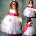 New Children Kids Girl Lovely Sleeveless dress O-neck Waist Floral dress Back Bow Petal Hem Dress