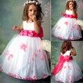 New Kids Crianças Menina Lindo vestido Sem Mangas O Pescoço Floral Cintura vestido de Volta Arco Vestido Hem Pétala