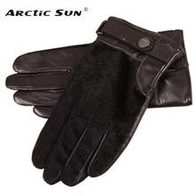Black Men's Sheepskin Gloves Male Autumn Winter Thin Velvet Thicken Warm Genuine Leather Men Touch Gloves NEW EM018NQF1