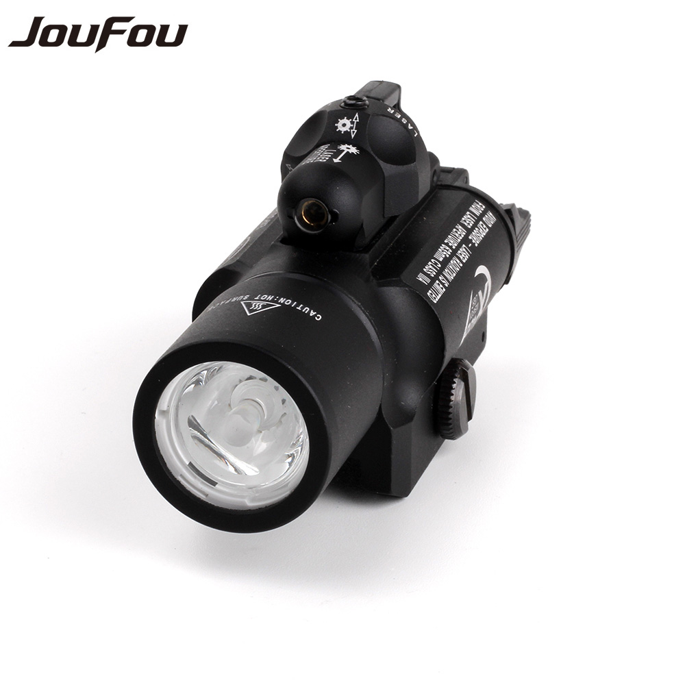 JouFou Outdoor Hunting Tactical Shooting LED Flashlight X-400 Red Laser Sight White Light 500 Lumens for Pistol M4 Rifle sport car style 2 led white light flashlight keychain w sound effect red 4 x lr41