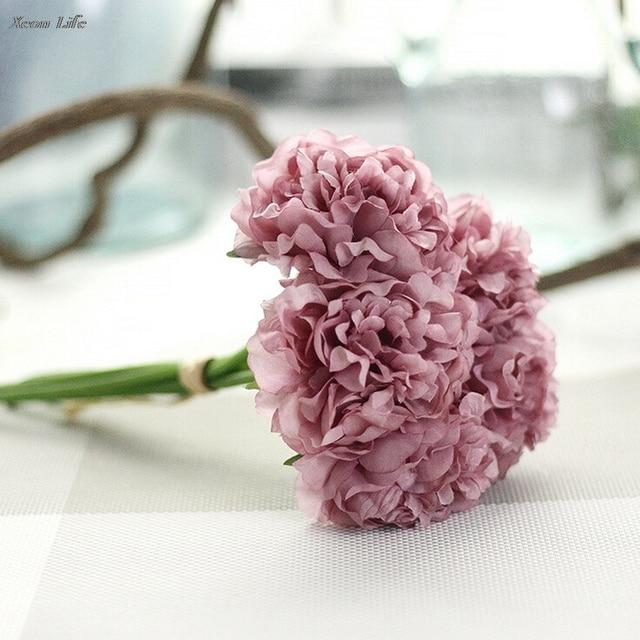 ISHOWTIENDA Hot Artificial Silk Fake Flowers Peony Floral Wedding Bouquet Bridal Hydrangea Decor Natural Lifelike Beautiful