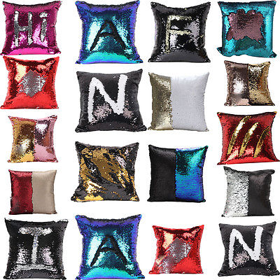 Glitter Mermaid Letter Cushion Cover Hot Sofa Decoration Reversible Bling Bling Sequin Pillow Case