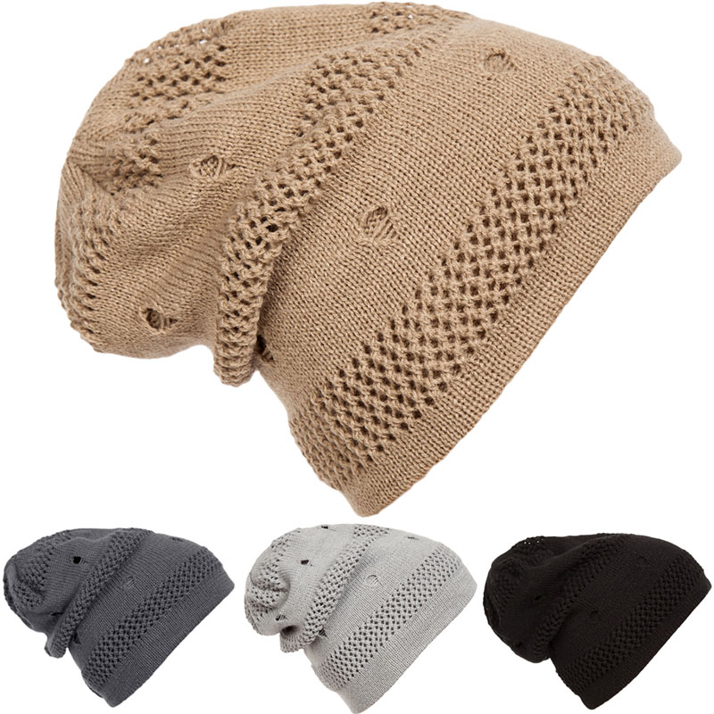 Winter Women Men Beanie Hat Slouchy Baggy Unisex Knit Ski Cap Skull Hole Hip-hop hot sale unisex winter plicate baggy beanie knit crochet ski hat cap