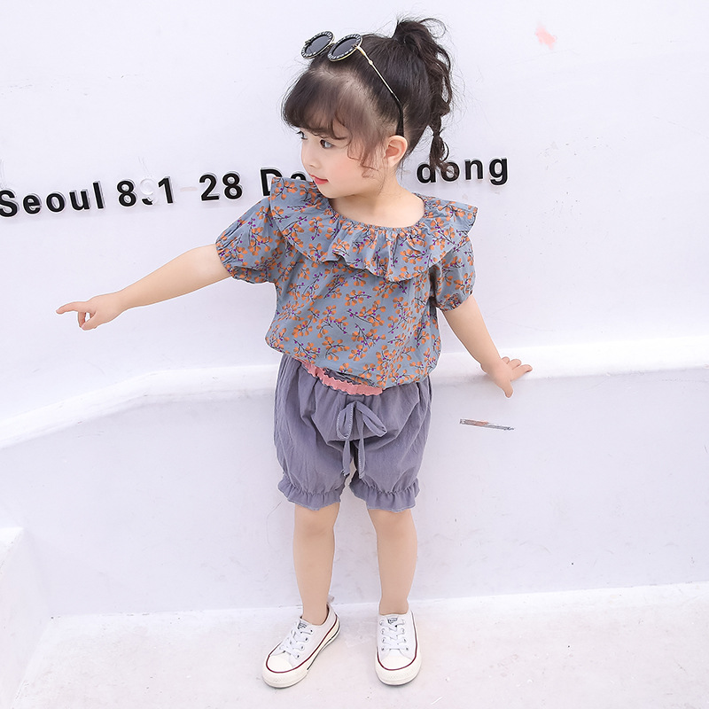2 Pcs/set Children Girls Summer Floral Korean Version Of The Tide Fashion Lotus Leaf Foreign Gas Female Baby Suit