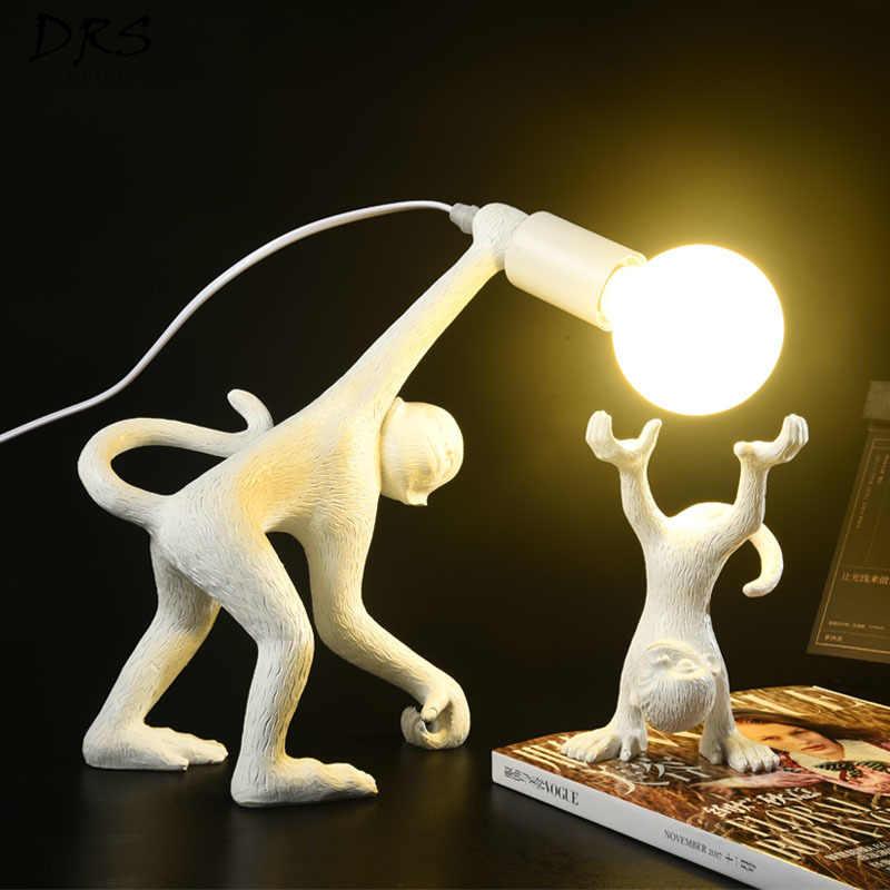 Nordic Творческий лампа в форме обезьяны Гостиная Спальня мебели настольная лампа Колледж общежития современный Крытый Декор дома флексографской крепление для светодиодов