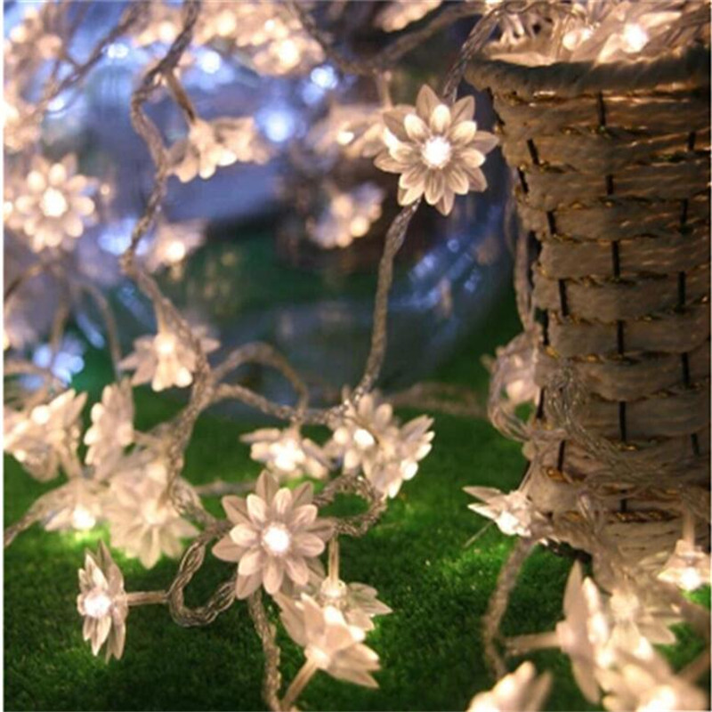 Lotus Flowers String Fairy Lights 10M 50 LED Christmas Garland Strip Rope Garland LED Wedding Party Holiday Lighting Home Decor