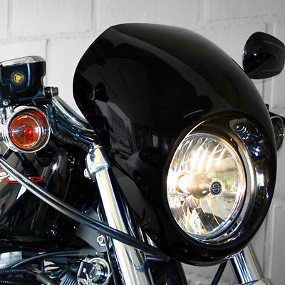 все цены на Painted black Drag Headlight Fairing Visor Mask  For Harley Davidson Sportster Dyna FX/XL 39mm narrow Glide forks Motorcycle в интернете