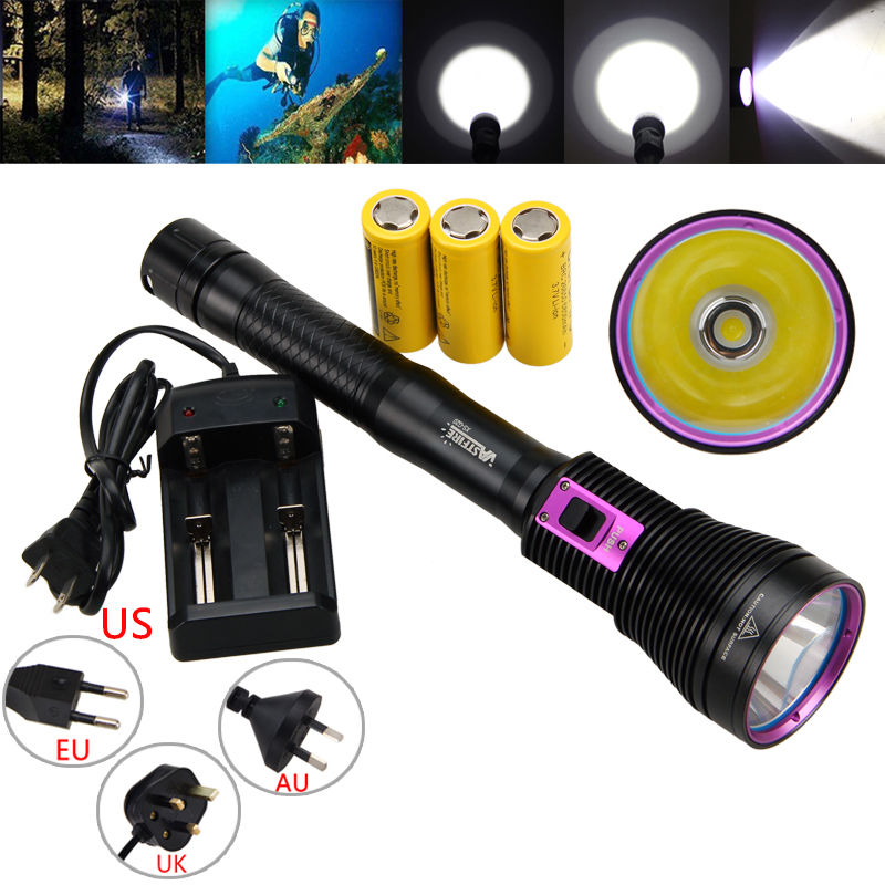 Waterproof 100m Diving 8000LM XHP70 LED Scuba Flashlight 26650 Torch Light waterproof ultraviolet diving light 3x uv led lamp diving flashlight scuba torch dive lanterna pcb 26650 battery eu charger
