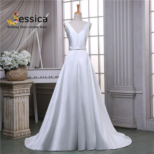 estilo sencillo vestido de boda del vendaje v cuello de satén precio