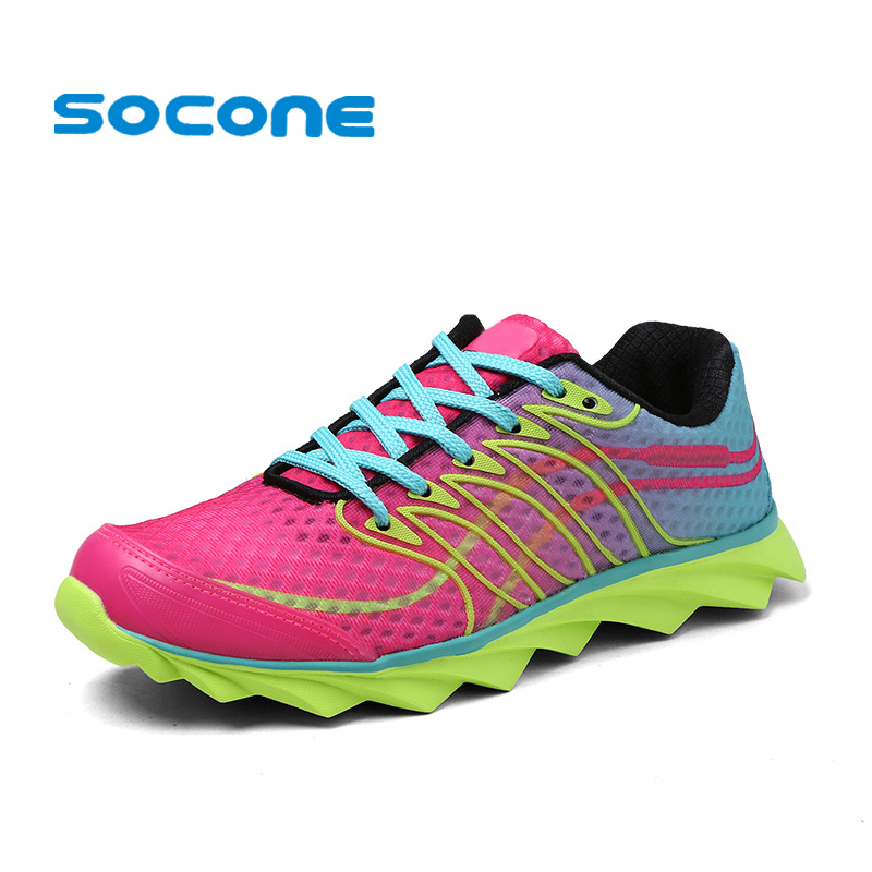 ФОТО Socone Cushioned Running Shoes for Women Sneakers 2017 Summer Breathable Women Sport Shoes Jogging Ladies Walking Shoes Trainers