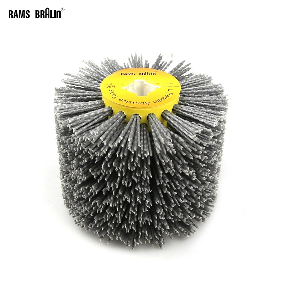 1 pcs 120*100*19mm Abrasives Wire DuPont Drum Wheel Brush for Wooden Furniture Burnishing Polishing Striping Drawing
