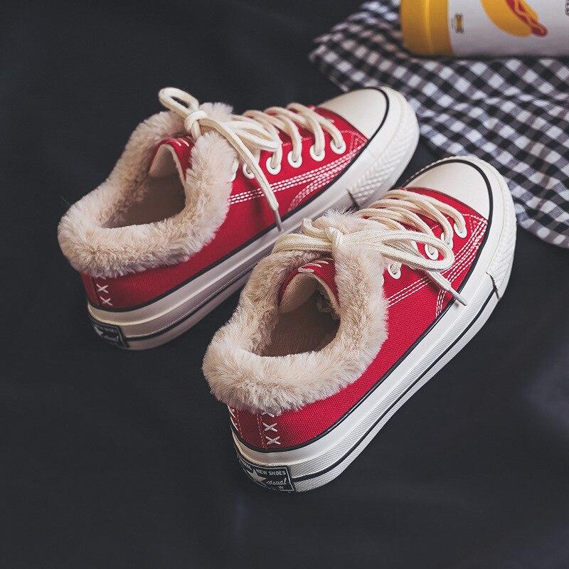 Повседневная парусиновая обувь для женщин джинсовая вулканизации с Мех животных теплые туфли без каблуков зима бархат Джинс - Цвет: red